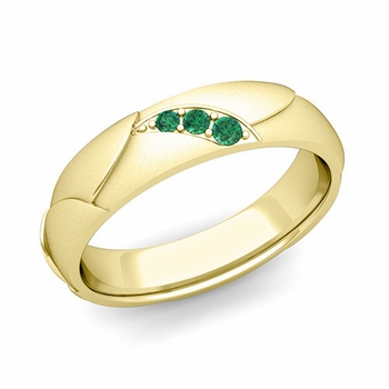 Unique 3 Stone Emerald Wedding Anniversary Ring in 18k Gold Satin Finish, 5mm