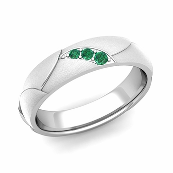Unique 3 Stone Emerald Wedding Anniversary Ring in Platinum Brushed Finish, 5mm