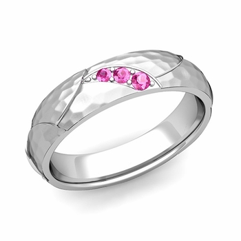 Unique 3 Stone Pink Sapphire Wedding Ring in 14k Gold Hammered Finish, 5mm