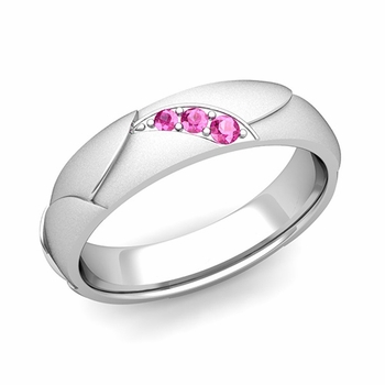 Unique 3 Stone Pink Sapphire Wedding Ring in 14k Gold Satin Finish, 5mm