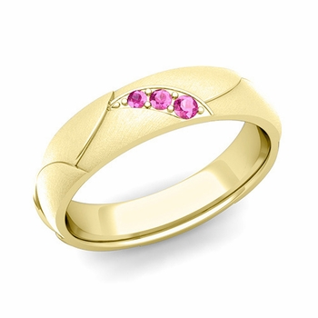 Unique 3 Stone Pink Sapphire Wedding Ring in 18k Gold Brushed Finish, 5mm