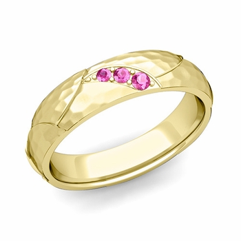 Unique 3 Stone Pink Sapphire Wedding Ring in 18k Gold Hammered Finish, 5mm