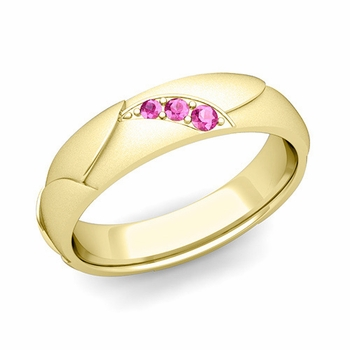 Unique 3 Stone Pink Sapphire Wedding Ring in 18k Gold Satin Finish, 5mm