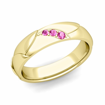 Unique 3 Stone Pink Sapphire Wedding Ring in 18k Gold Shiny Finish, 5mm