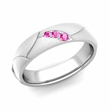 Unique 3 Stone Pink Sapphire Wedding Ring in Platinum Brushed Finish, 5mm