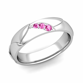 Unique 3 Stone Pink Sapphire Wedding Ring in Platinum Shiny Finish, 5mm