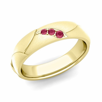 Unique 3 Stone Ruby Wedding Anniversary Ring in 18k Gold Brushed Finish, 5mm