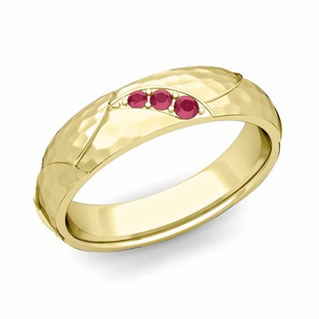 Unique 3 Stone Ruby Wedding Anniversary Ring in 18k Gold Hammered Finish, 5mm