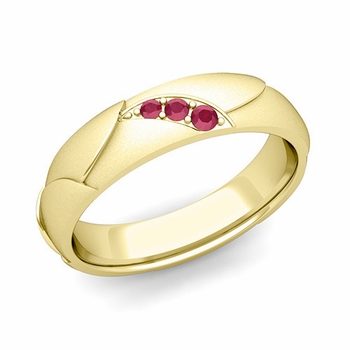 Unique 3 Stone Ruby Wedding Anniversary Ring in 18k Gold Satin Finish, 5mm