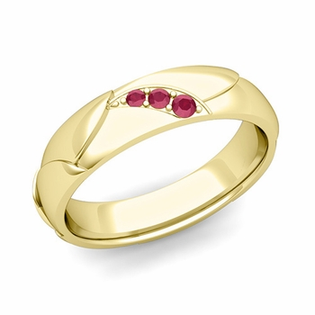 Unique 3 Stone Ruby Wedding Anniversary Ring in 18k Gold Shiny Finish, 5mm