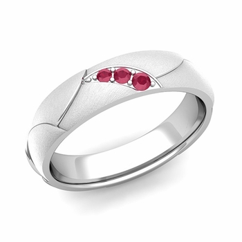 Unique 3 Stone Ruby Wedding Anniversary Ring in Platinum Brushed Finish, 5mm