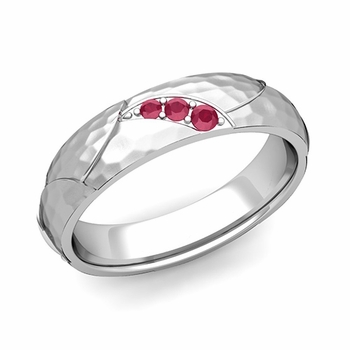 Unique 3 Stone Ruby Wedding Anniversary Ring in Platinum Hammered Finish, 5mm