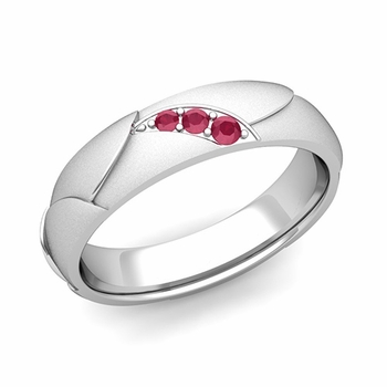 Unique 3 Stone Ruby Wedding Anniversary Ring in Platinum Satin Finish, 5mm