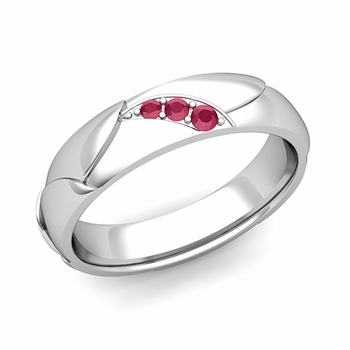 Unique 3 Stone Ruby Wedding Anniversary Ring in Platinum Shiny Finish, 5mm