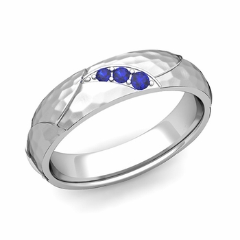 Unique 3 Stone Sapphire Wedding Anniversary Ring in 14k Gold Hammered Finish, 5mm