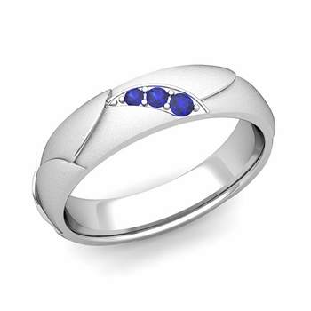Unique 3 Stone Sapphire Wedding Anniversary Ring in 14k Gold Satin Finish, 5mm