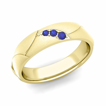 Unique 3 Stone Sapphire Wedding Anniversary Ring in 18k Gold Brushed Finish, 5mm