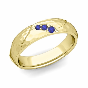 Unique 3 Stone Sapphire Wedding Anniversary Ring in 18k Gold Hammered Finish, 5mm