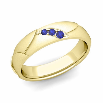 Unique 3 Stone Sapphire Wedding Anniversary Ring in 18k Gold Satin Finish, 5mm