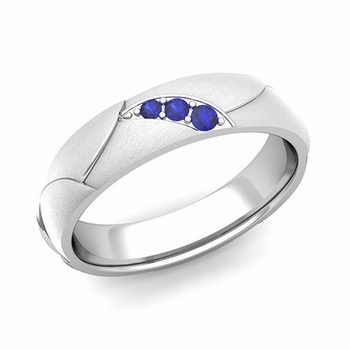 Unique 3 Stone Sapphire Wedding Anniversary Ring in Platinum Brushed Finish, 5mm