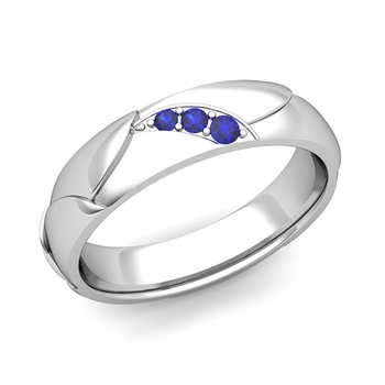 Unique 3 Stone Sapphire Wedding Anniversary Ring in Platinum Shiny Finish, 5mm