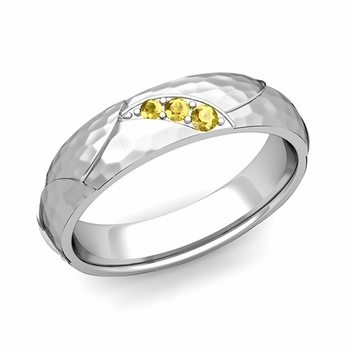 Unique 3 Stone Yellow Sapphire Wedding Ring in 14k Gold Hammered Finish, 5mm