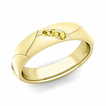 Unique 3 Stone Yellow Sapphire Wedding Ring in 18k Gold Brushed Finish, 5mm