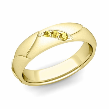 Unique 3 Stone Yellow Sapphire Wedding Ring in 18k Gold Satin Finish, 5mm