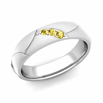 Unique 3 Stone Yellow Sapphire Wedding Ring in Platinum Brushed Finish, 5mm