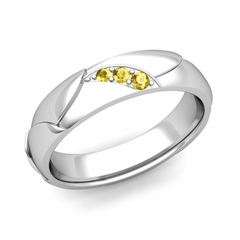 Unique 3 Stone Yellow Sapphire Wedding Ring in Platinum Shiny Finish, 5mm