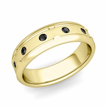 Unique Black Diamond Anniversary Ring in 18k Gold Brushed Wedding Band, 6mm