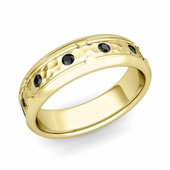 Unique Black Diamond Anniversary Ring in 18k Gold Hammered Wedding Band, 6mm