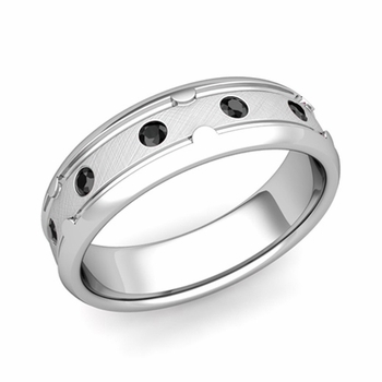 Unique Black Diamond Anniversary Ring in Platinum Brushed Wedding Band, 6mm