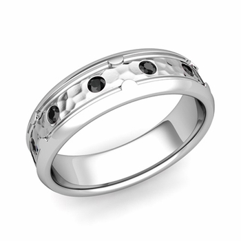 Unique Black Diamond Anniversary Ring in Platinum Hammered Wedding Band, 6mm