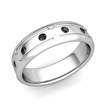Unique Black Diamond Anniversary Ring in Platinum Shiny Wedding Band, 6mm