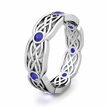 Customize Celtic Knot Wedding Band Ring with Gemstones and Diamonds