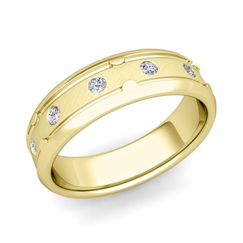 Unique Diamond Anniversary Ring in 18k Gold Brushed Wedding Band, 6mm
