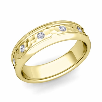 Unique Diamond Anniversary Ring in 18k Gold Hammered Wedding Band, 6mm
