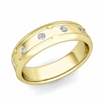 Unique Diamond Anniversary Ring in 18k Gold Shiny Wedding Band, 6mm