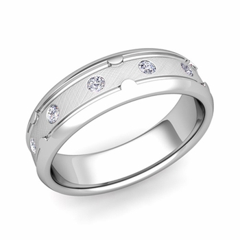 Unique Diamond Anniversary Ring in Platinum Brushed Wedding Band, 6mm