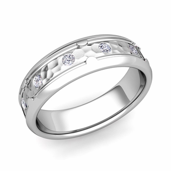 Unique Diamond Anniversary Ring in Platinum Hammered Wedding Band, 6mm