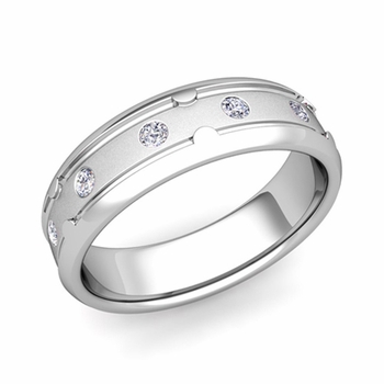Unique Diamond Anniversary Ring in Platinum Satin Wedding Band, 6mm