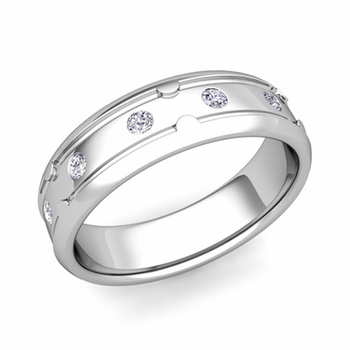 Unique Diamond Anniversary Ring in Platinum Shiny Wedding Band, 6mm