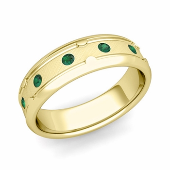 Unique Emerald Anniversary Ring in 18k Gold Brushed Wedding Band, 6mm