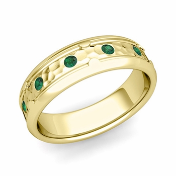 Unique Emerald Anniversary Ring in 18k Gold Hammered Wedding Band, 6mm