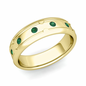 Unique Emerald Anniversary Ring in 18k Gold Shiny Wedding Band, 6mm