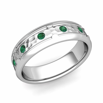 Unique Emerald Anniversary Ring in Platinum Hammered Wedding Band, 6mm