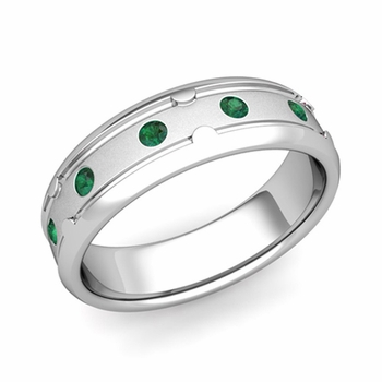 Unique Emerald Anniversary Ring in Platinum Satin Wedding Band, 6mm