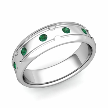 Unique Emerald Anniversary Ring in Platinum Shiny Wedding Band, 6mm