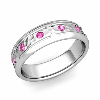 Unique Pink Sapphire Anniversary Ring in 14k Gold Hammered Wedding Band, 6mm